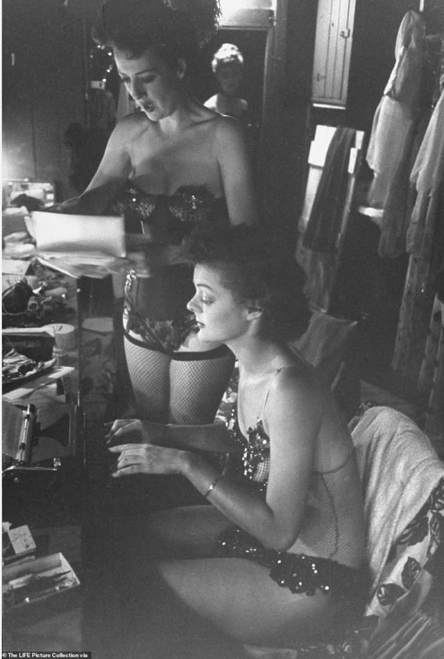 Gypsy Rose Lee (left) dictates a letter to her secretary Brandy Bryant, who was also a backup dancer in Gypsy's carnival stint. In 1941, Lee published  The G-String Murders, a best selling pulpy crime caper about a group of strippers that were strangled by their own G-string panties. She went on to write three more books and several screen plays that were produced on Broadway. Though nothing was as successful as her 1957 memoir Gypsy, which became one of the greatest musicals ever written, with lyrics by Stephen Sondheim