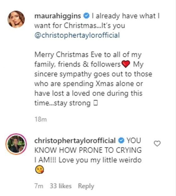Smitten: The Isle of Love beauty, a 30-year-old, didn't shy away from spilling over her new boyfriend because she wrote: 'I already have what I want for Christmas ... It's you @christophertaylorofficial'