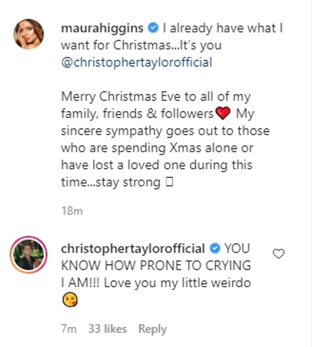 Smitten: The Love Island beauty, 30, didn't hesitate to brag about her new boyfriend, as she wrote: 'I already have what I want for Christmas ... it's you @christophertaylorofficial ''
