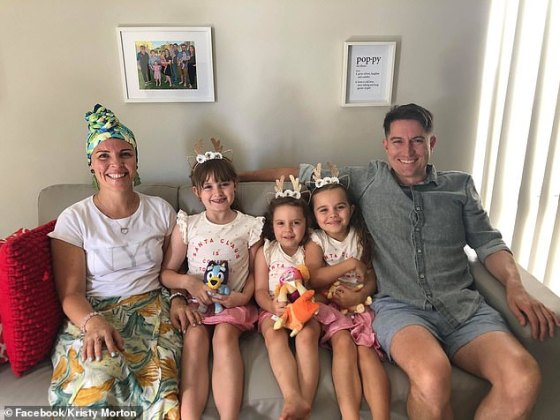 Kristy and Glenn are enjoying Christmas Friday at their home in Perth with their daughters (left to right) Holly, Eva.  and Mia