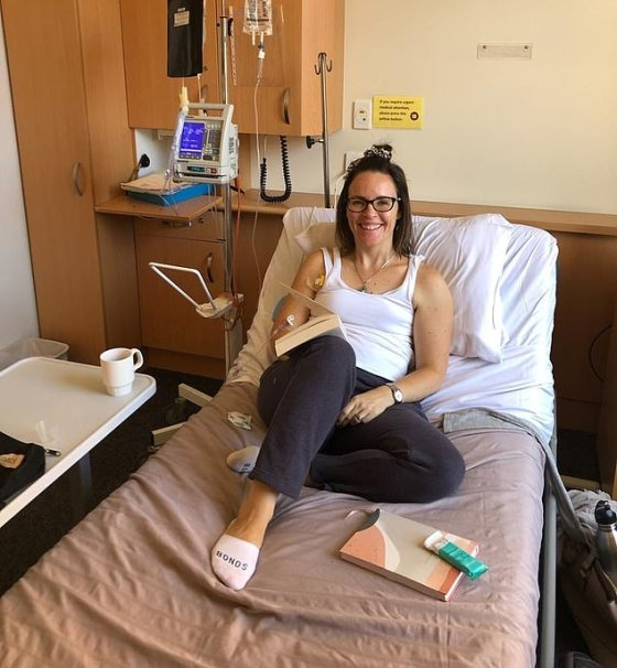 Ms Morton pictured on the first day of chemotherapy in 2019 said the disease was fought with a holistic approach