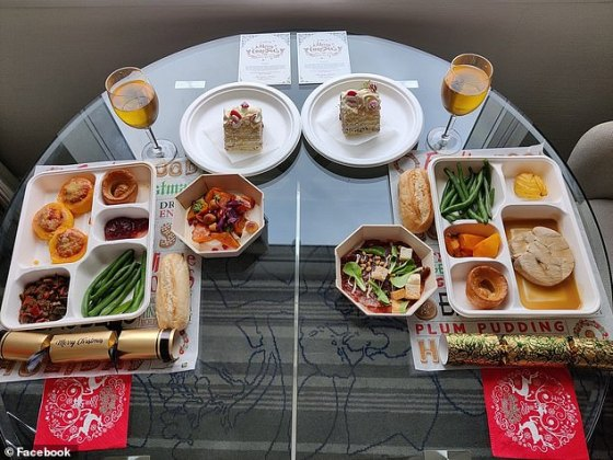 The best Christmas meal arrived from the Marriott in Sydney Harbor, where one couple showed off their colorful three-course spread