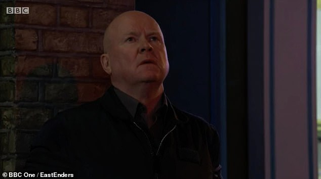 Son on screen: Phil, Barbara's on-screen son, played by Steve McFadden, 61, looked at the screen remembering Peggy