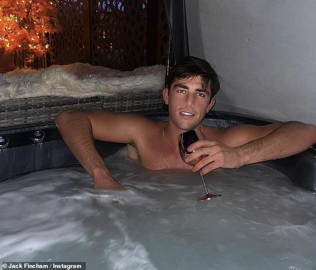 Coincedence? Jack posed shirtless while relaxing in a jacuzzi as he sipped on wine in a rose gold glass before Chloe shared a similar shot hours later