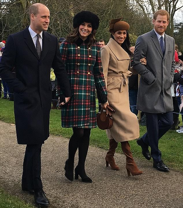 Norfolk Police confirmed earlier this week that no royals would be attending the traditional church service in Sandringham this year, breaking a 32-year tradition. Pictured: Prince William and wife Kate, and Prince Harry and wife Meghan arrive at the Sandringham service in 2017