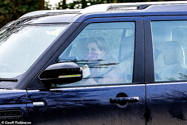 The family left the service at 11.45am with Prince Edward and his wife (pictured) both wearing face masks and returned to Sandringham House