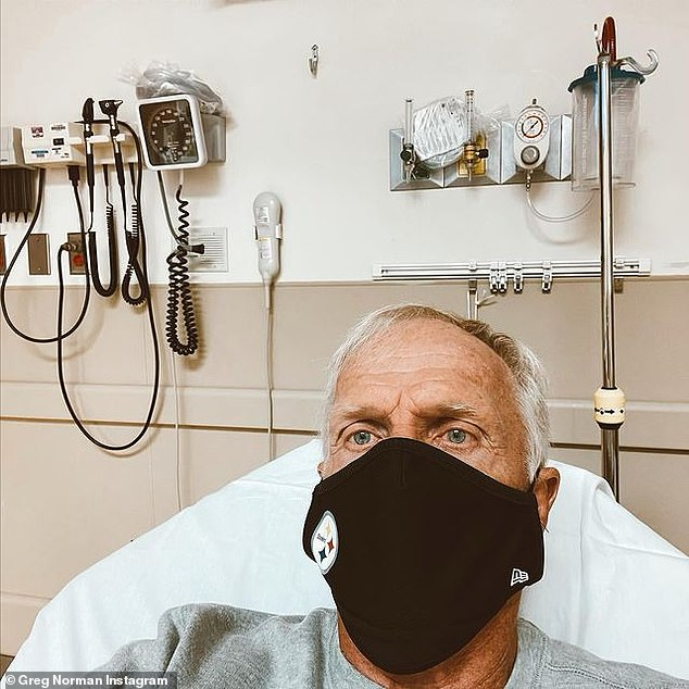 Australian golf legend Greg Norman (pictured in hospital) has been diagnosed with coronavirus