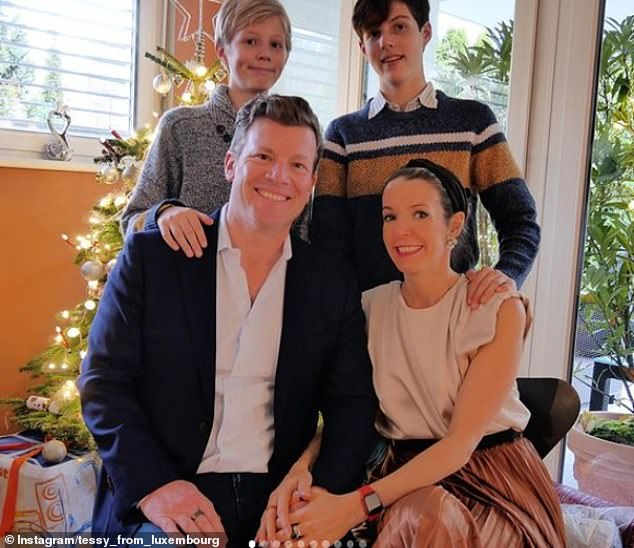 Tessy of Luxembourg shares rare family snap with her hunky Swiss businessman boyfriend and sons