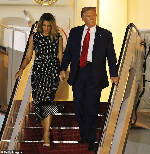 On four separate occasions Saturday , Trump made the same tweet about wanting to get Americans $2000 in COVID-19 relief after days of slamming the $600 agreed upon by Congress. Pictured with First Lady Melania on Wednesday