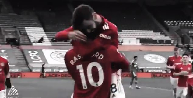 Bruno Fernandes jumped on Marcus Rashford after happily asking him: 'Did you see my assist?'