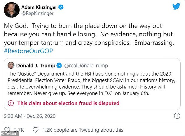 Kinzinger called out Trump on Twitter Saturday for his election fraud claims, claiming the president is 'embarrassing'