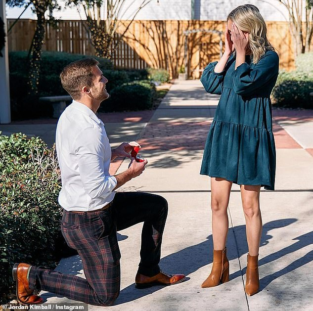 On one knee: The 28-year-old posted a video of the moment to his Instagram Story, as the bride-to-be got misty-eyed at the sight of him on his knee