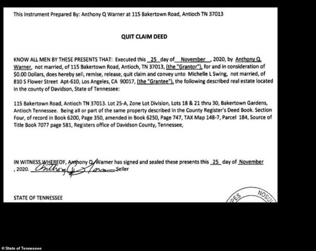 Anthony Quinn Warner, 63, signed the property away via a quitclaim deed to Michelle Swing, a 29-year-old woman living in Los Angeles, for $0.00, according to county records pictured above. Swing¿s signature does not appear on the November 25th transfer and she told DailyMail.com she knew absolutely nothing about it