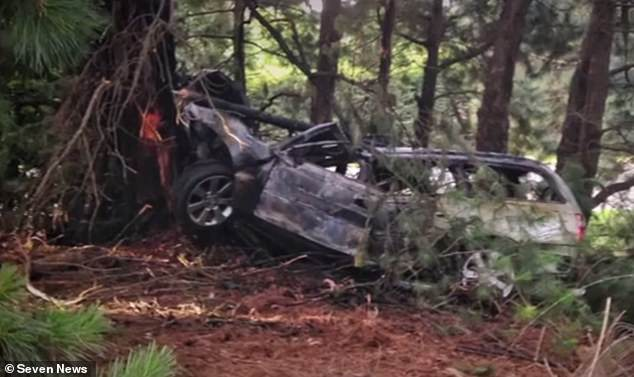 The man, in his 50s, was driving 'erratically' around a bend in Silvan, near Melbourne, on Christmas Day when he lost control and slammed into a tree