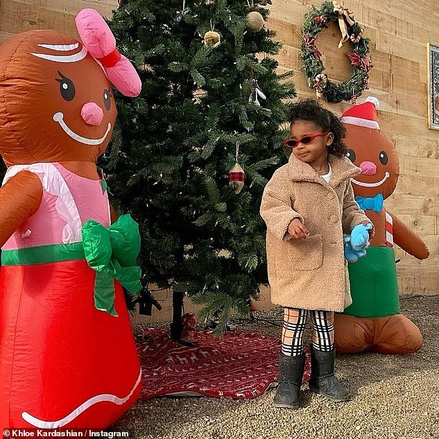 Cookie party: She also took to Instagram with a glimpse of their holidays, as she and True decorated some gingerbread men