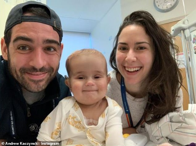 In mourning:Andrew Kaczynski returned to the platform on Saturday to thank his followers for their heartfelt condolences and generous donations to Boston's Dana-Farber Cancer Institute, followinghis nine-month-old daughter Francesca's passing on Christmas Eve
