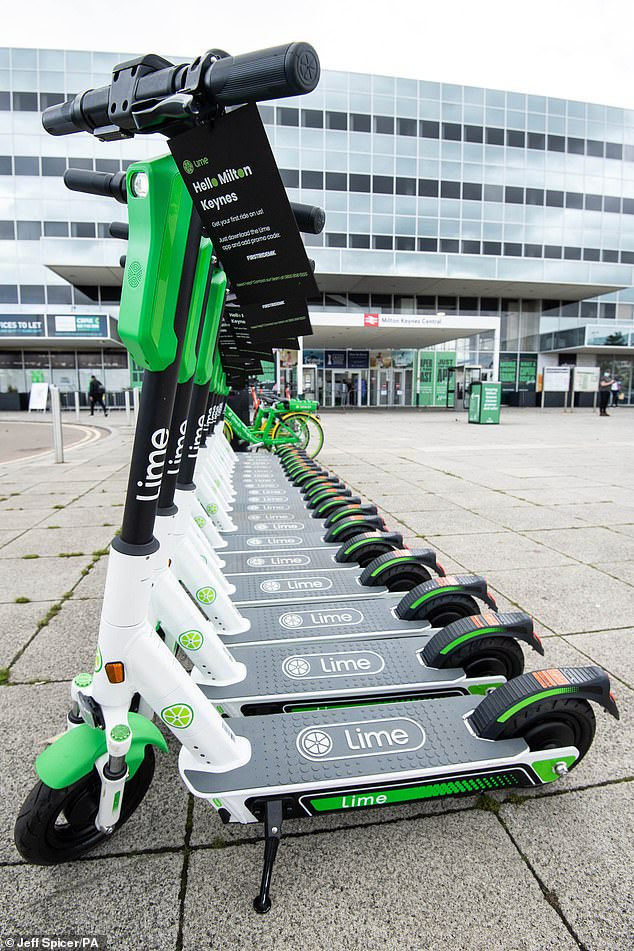 Criminals have been known to use e-scooters when committing crimes such as mugging and drug dealing. Their use is highly regulated, though people can rent scooters in areas such as Milton Keynes, pictured