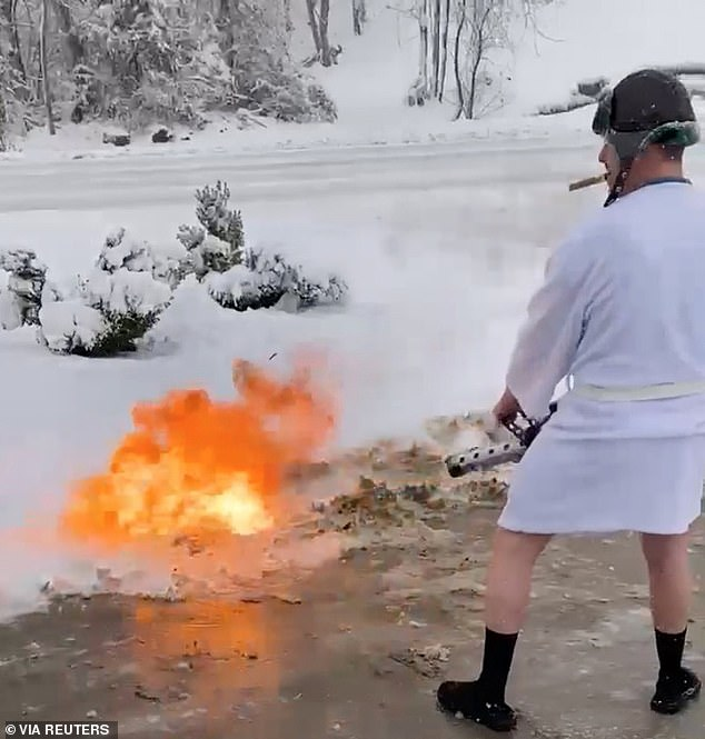 A man from Kentucky decided to clear his driveway using a flamethrower