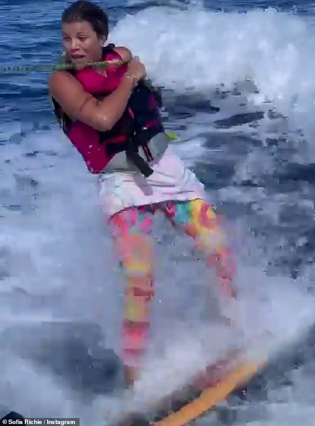 Making it happen:The 22-year-old daughter of Lionel Richie posted some Insta Stories footage of herself that day expertly wakeboarding