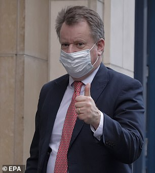Mr Johnson's chief Brexit negotiator Lord Frost (pictured) echoed Mr Sunak's clarion call about the twin boosts of a vaccine and the UK's new trade deal with the EU