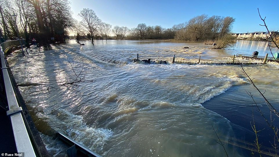 Severe flooding in Little Paxon, St Neots, in Cambridgeshire where much of the region woke up to flood waters this morning