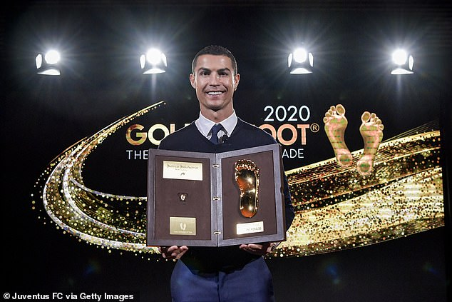 Cristiano Ronaldo (above) was also awarded the Golden Foot award for 2020 last week