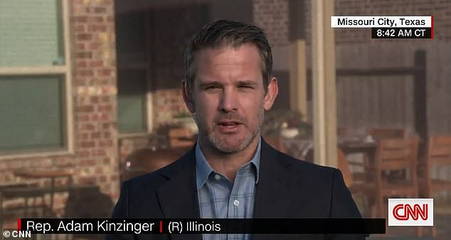 Republican Representative Adam Kinzinger said Sunday that Donald Trump is fueling 'violence' is supporters and conspiracy theorists by suggesting Congress can overturn the election in the January 6 joint session