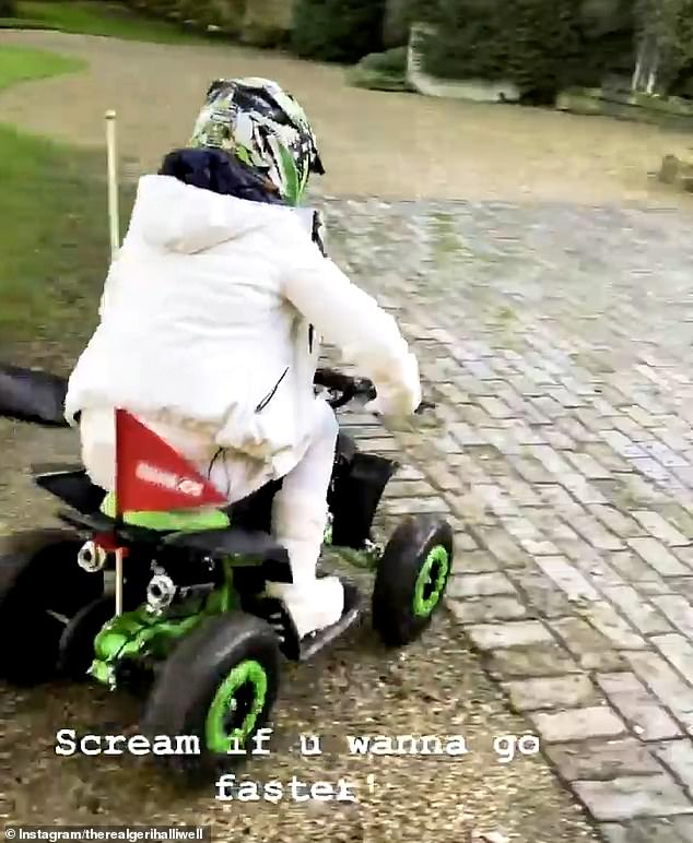 Throwback:Geri captioned her video: 'Scream if u wanna go faster!', a reference to her second solo album of the same name, released in 2001
