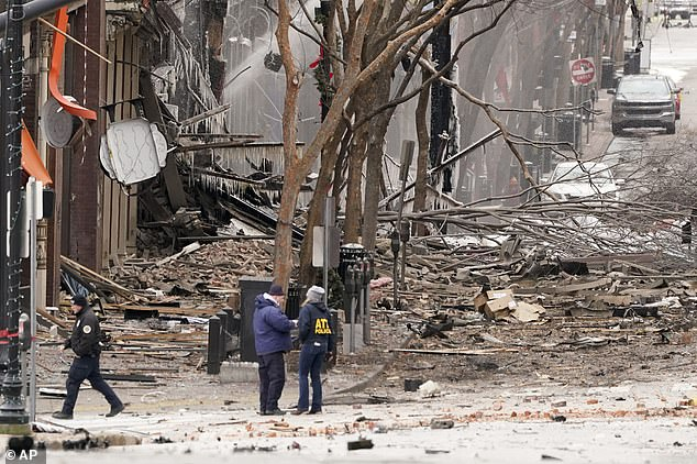 Devastation: The damage of the explosion pictured above in downtown Nashville. Three people were injured and 41 businesses were impacted in the blast
