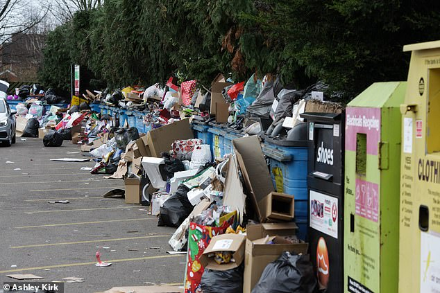 The recycling centre at West Park in Long Eaton was covered with Christmas rubbish after people flocked to clear their houses of Christmas day toy boxes