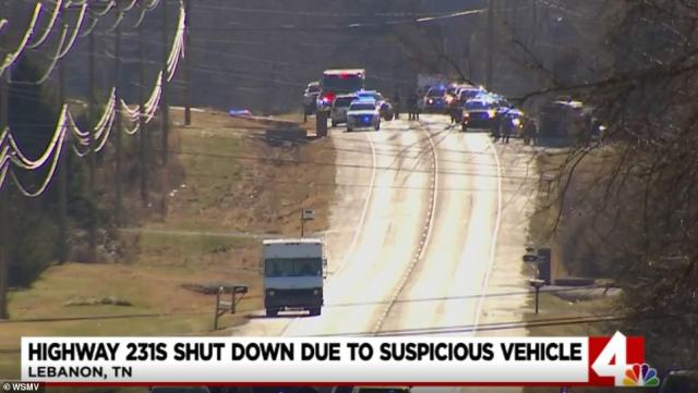 A Tennessee highway was on Sunday closed amid reports of a truck with PA system telling people to evacuate the area. Footage from the scene shows a white truck on an empty road surrounded by police cars