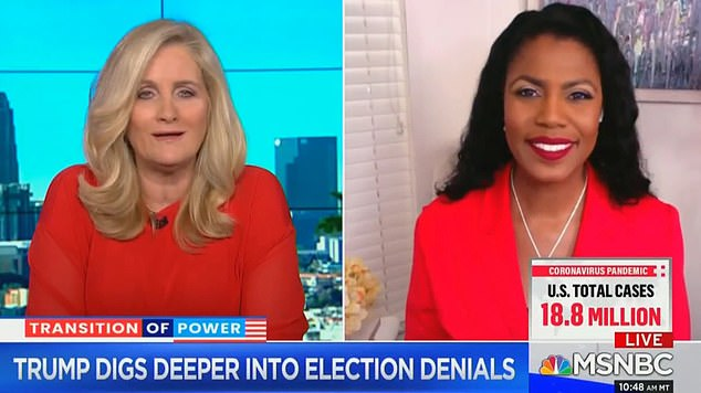 'I really feel bad for those who are left because the reality is that Donald is going to turn to turn to anyone and blame everyone for his loss except for himself and the only ones left now are Mike Pence and Mark Meadows,' she said to MSNBC host Alex Witt Saturday