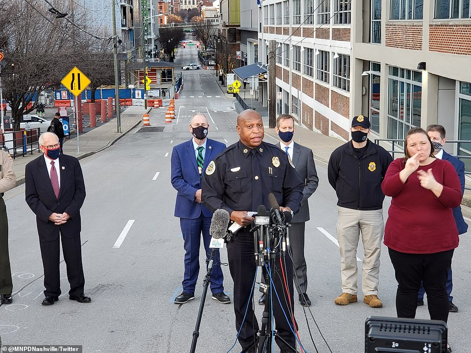 Nashville Chief of Police John Drake speaks at a news conference Sunday. The FBI has confirmed that Anthony Quinn Warner, 63, is the prime suspect in the Nashville Christmas Day bombing, saying DNA shows he died in an apparent suicide attack