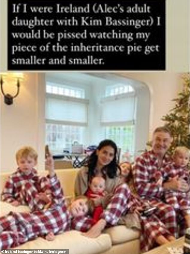 Big family: The 25-year-old reposted a Christmas photo of Hilaria, 36, and father Alec Baldwin, 62, with their kids, accompanied by comment from Tracie Egan Morrissey, who's fueled the discourse around Hilaria's heritage