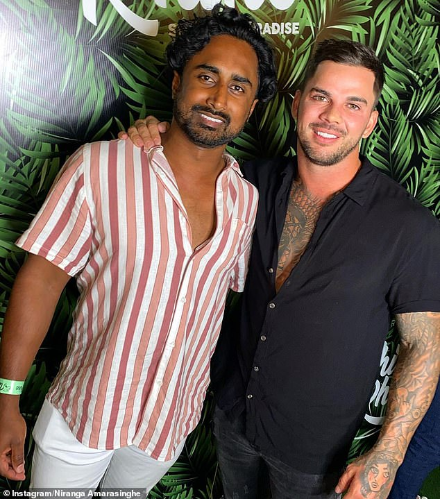 Revealing all: In an interview with the So Dramatic! podcast, Niranga divulged the duo became an item after starting off as friends. Pictured with Bachelor in Paradise star Matt Whyatt