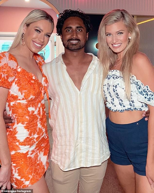 Confession! Bachelor In Paradise star Niranga Amarasinghe (middle) has claimed he secretly dated Bachelor beauty Charley Bond (left) earlier this year. Pictured with Gemma White