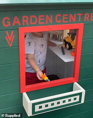 'I spent $199 on the cubby itself and then just $100 on the paint and brushes. The project took about one week on and off where we painted it prior to assembly,' Emma said (the cubby pictured)