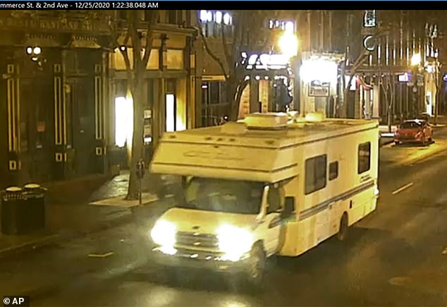 This image taken from surveillance video shows the RV that was involved in a blast on Friday. Loudspeakers on the vehicle played the soul hit 'Downtown' before it detonated