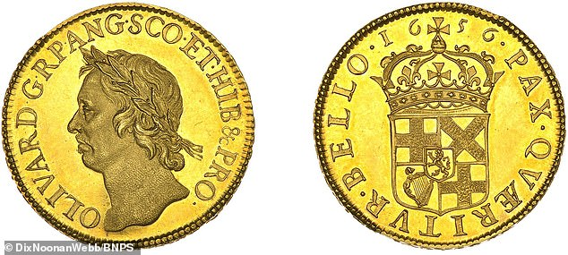 A 364-year-old gold coin bearing a portrait of Oliver Cromwell is to be auctioned for an estimated £150,000