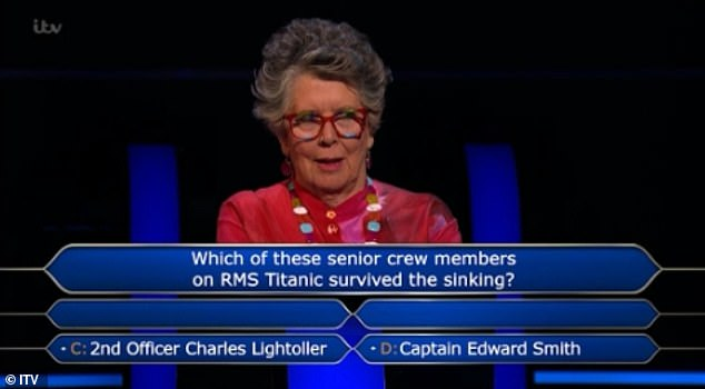 Prue Leith enrages Who Wants To Be A Millionaire fans as she loses £48k over Titanic question