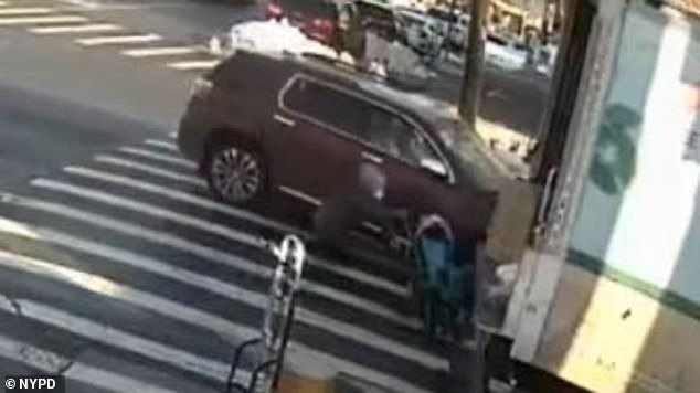 The image above shows the grandmother being knocked to the pavement while the stroller is flung several feet