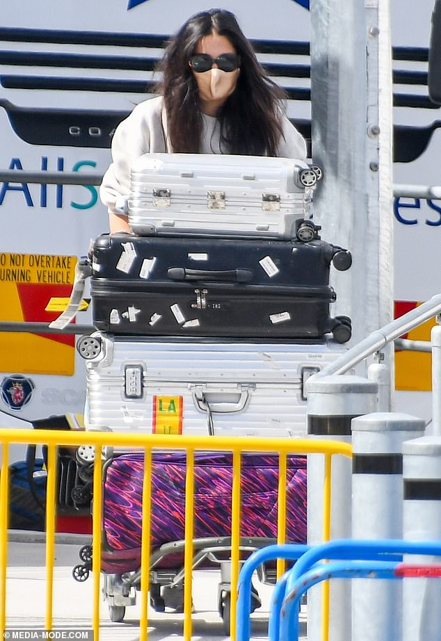 Jetting in: Jessica Gomes flew into Australia on Monday, before being taken into mandatory hotel quarantine in Sydney's CBD