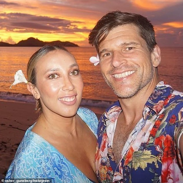 'I wake up every day grateful': The Bachelor host Osher Günsberg, 46, (right) shared a gushing tribute to his wife Audrey Griffen, 40, (left) as they celebrated their fourth wedding anniversary on MOnday