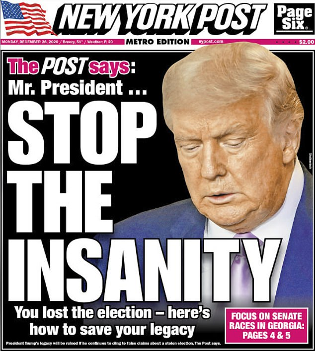 The New York Post's editorial board, which long supported President Donald Trump, has blasted his longshot attempts to overturn the election in a scathing editorial