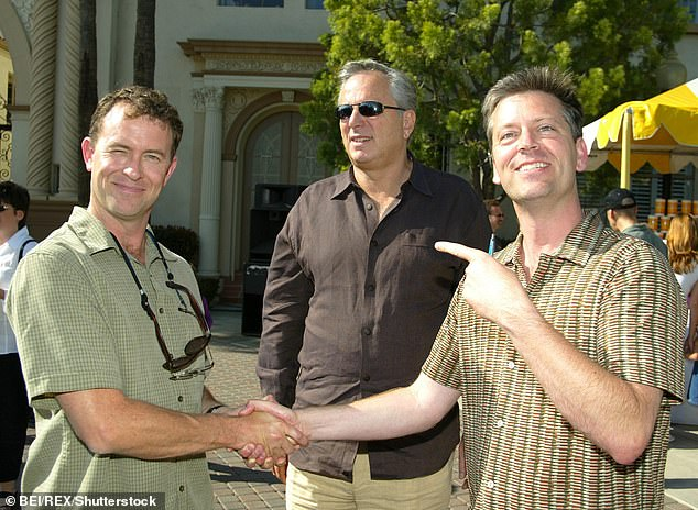 In a heartfelt tribute on Instagram, Hey Arnold! creator Craig Bartlett described Tucker as 'A great friend, a master draftsman, a tireless practical joker, a brilliant storyteller... he was the best board guy I had ever met.' The two (along with Paramount's Arthur Cohn are seen in 2002)