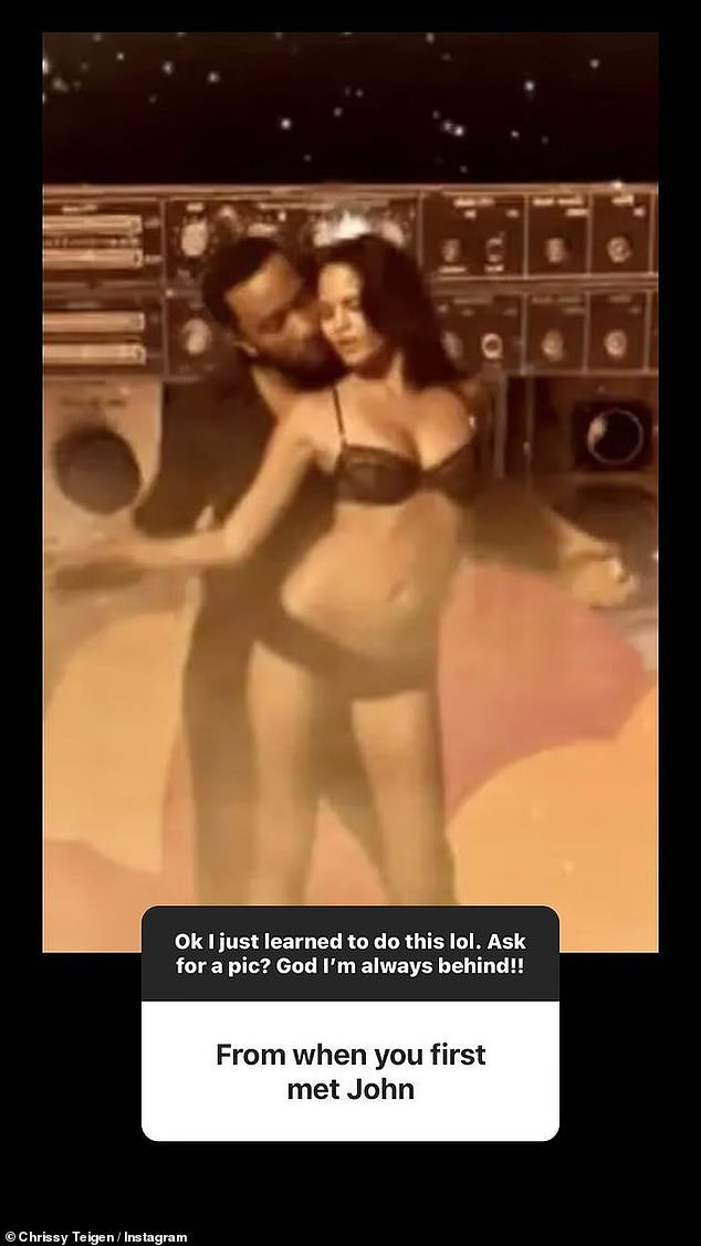 When they first met: Chrissy Teigen shared this image on her Instagram Story on Sunday showing herself and John Legend on the set of the music video for his single Stereo in 2006