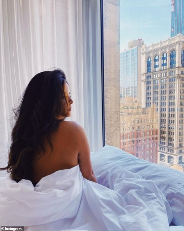 Medina is seen above at the Arlo NoMad hotel in Midtown Manhattan. The above image was posted in late August