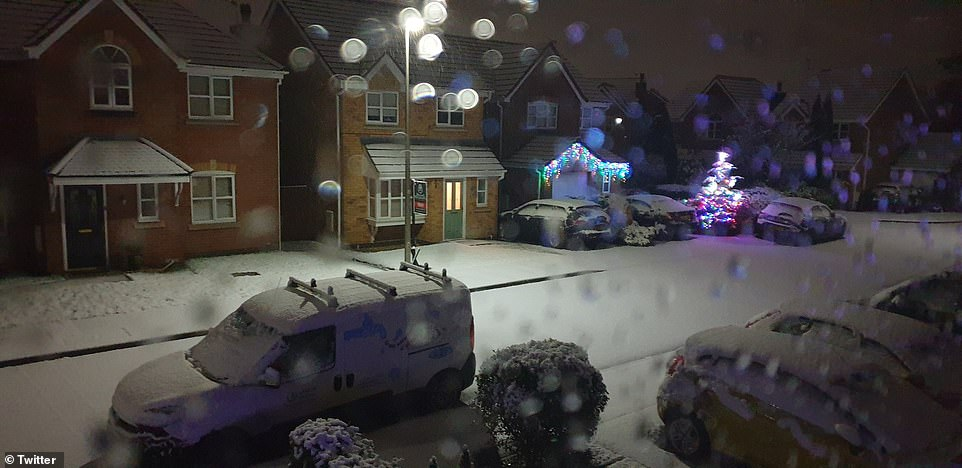 Other areas were also hit with snow today, including in Hindley, Wigan, this morning, as forecasters warn of more snow on the way