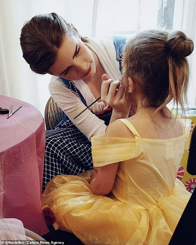 Mother-of-one Kari attends princess themed children's parties dressed as Belle from the 2017 film