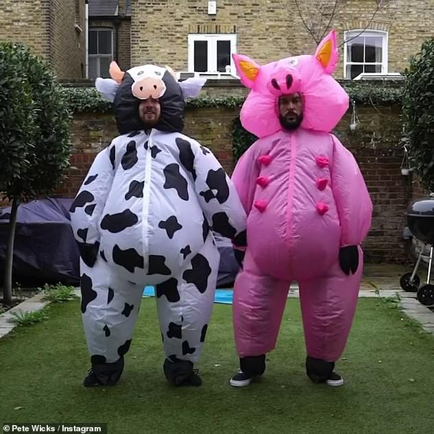 Haha! Pete Wicks and Sam Thompson dressed as farmyard animals as they danced in the garden in an Instagram clip on Sunday